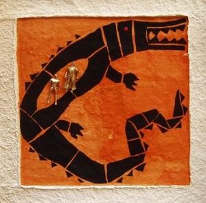 I figli del coccodrillo - t.m. su carta a mano 90 x 90