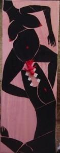 Rosa nero, il figlio del coccodrillo - t.m. su tela 85 x 200